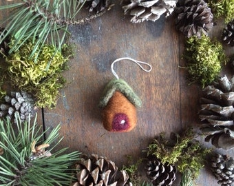 Wool cottage ornament, Fox Brown, miniature house ornament, felted wool house ornament, first home ornament, housewarming gift, brown house
