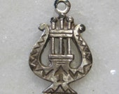 Vintage Lyre Charm, 1970s Detailed Silver Plated Die Struck Harp Charm Drop, Jewelry Finding, Unused, 17x11mm, 1 Pc.