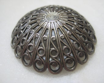 Vintage Domed Filigree: 1970s Guyot Ornate Round Lacy Dapt (Dapped) Stamping, Silver Plated Jewelry Finding, Unused, 33mm x 7mm Deep, 1 pc.