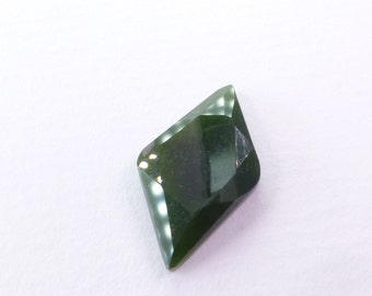 Natural Nephrite Jade Cabochon from BC, Canada. No Treatments. Tavernier Cut. Faceted Cab. 1 pc. 7.95 cts. 13x22x3.5 mm (JD347