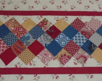 Quilted Table Runner Florals in Red Blue Gold, Quilted Table Topper, Coffee Table Runner, Table Quilt, Patchwork Runner, Paisley and Floral