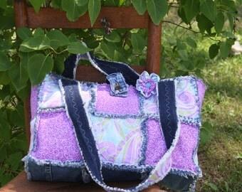 Rag Quilt Purse, Tote ,Diaper Bag, , up cycled denim,shoulder handbag, top handle handbag,Flower clip, Handmade Handbag Made by Prinilla