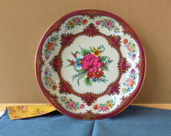 Daher Decorated Ware England Floral Tin Bowl. Table Display. Romantic Country Decor. Vintage Housewares. Farmhouse Chic.