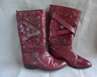Dark Red Leather Woven Vintage 1980's Women's Knee High Boots 7.5