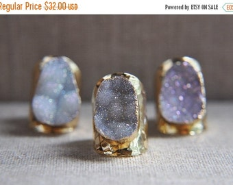 SALE Druzy Ring, Druzy Stone Ring, Druzy Gold Ring, Druzy Jewelry, Druzy, Unique Ring, Statement Ring, Adjustable Ring, Cuff Ring, Gold Plat