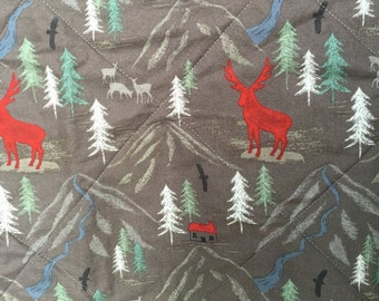 Deer Quilt, Woodland Blanket, Northwoods Nursery, Grey and Red, Buffalo Check Plaid, Baby Boy Nursery