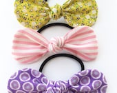 Hair Tie - Hair Bow - Girls Hair Tie - Girls Hair Bow - Spring Hair Tie - Spring Hair Bow - Colorful Hair Tie - Knot Bow - Fabric Bow - Pink