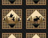 Northcott Northwoods Flannel Multi Animal Panel Tan Brown Moose Geese Bear Wolf Elk Owl F21125-12 Free Shipping