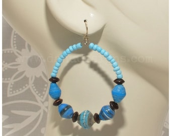 Blue 'Fair Trade' Paper Bead Hoop Earrings