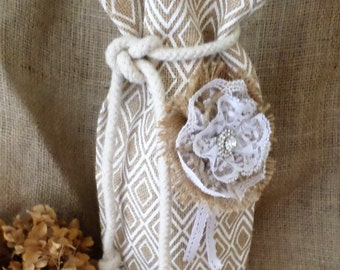 Burlap Wine/Gift Bag with Tie and Round Base