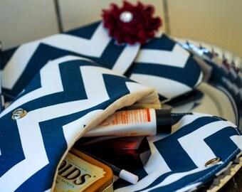 Navy Blue Chevron Clutch - Bridesmaid Clutches  - Formal bag - Wedding gifts - Boutique - chevron clutch