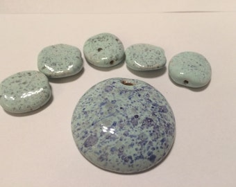Blue and Purple Kazuri beads