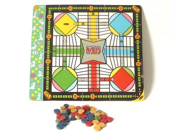 Vintage 1958 Transogram 2-sided Pa-Chiz-Si Gameboard ... Parchesi Game of India, Midcentury Toy, Red, Blue, Yellow Wood Pieces, Graphic