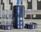 Lavender and purple three pieceart glass mosaic set soap/lotion dispenser, toothbrush holder and tumbler, mosaic bathroom set, glass mosaic