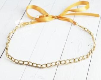 Gold Beaded Headband with Czech Crystals - Simple, Minimalist, Bridal, Bridesmaid, Wedding - Tie on - No headaches