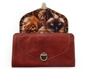 Brown leather wallet, Women's leather wallet, Cat wallet