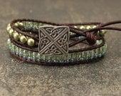 Artisan Celtic Knot Bracelet Unique Silver Turquoise Green Celtic Knot Bracelet Crystal Pearl Leather Wrap Bracelet