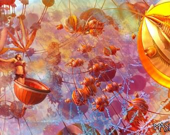 Springtime in the Land of the Lotuses Print - Mandelbulb Art by Masha Falkov