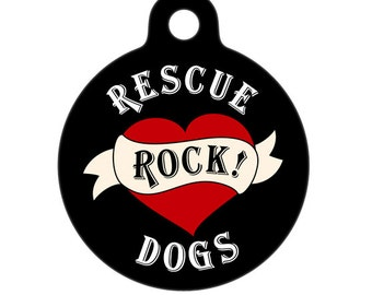 Pet ID Tag - Rescue Dogs Rock Heart Pet Tag, Dog Tag, Luggage Tag