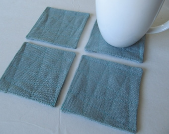 Set Of 4 Fabric Coasters/Pale Turquoise