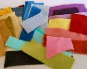 Wool Scrap Bundle -  Solid Color Felted Wool Fabrics - Craft Supply Destash - 30 Pieces