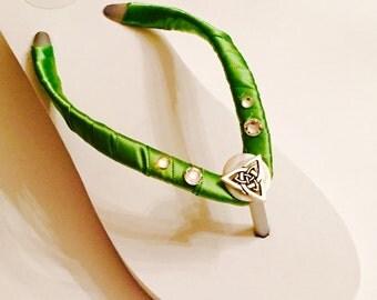 Irish Bridal Flip Flops/ Wedges. Wedding Flip Flops.IRISH WEDDING! Rhinestone Flip Flops. Destination Wedding.Green Flip Flops. Celtic Bride