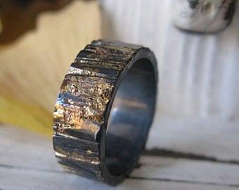 Mens Wedding Band Mens Wedding Ring Bark Ring Rose Gold Black Gold Ring Bark Wedding Band Viking Wedding Ring Unique Mens Wedding Band