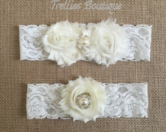 Ivory Lace Rhinestone Pearl Bridal Garter Set- Vintage Garter- Wedding Garter-  Ivory Shabby Flowers- Wedding - Headband