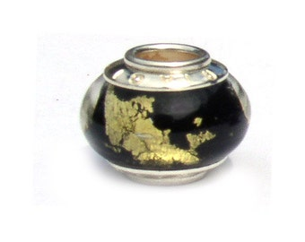 Black with Gold Flakes Glass European Beads