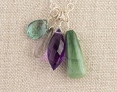 Gem Cluster Necklace Long Adjustable Purple Amethyst Green Jasper  Fluorite Rutilated Quartz Pendant