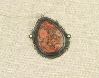 Poppy Jasper Pendant Necklace Red Black Orange Silver