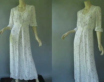 1930s Peignoir -  Rayon Print Nightgown and Robe Set - 30s Bridal Set