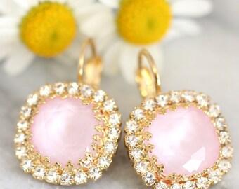 Rose Quartz Earrings,Pink earrings,Swarovski Drop Earrings, Pink Dangle Earrings,Bridesmaids Pink Earrings,Gift for her,Powder Pink Earrings