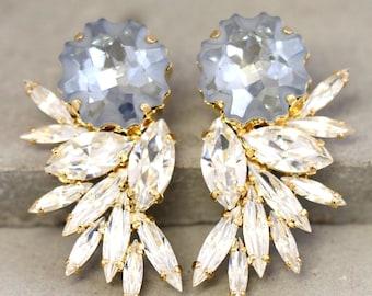 Statement Bridal Earrings,Swarovski Chandelier Earrings,Bridal Earrings,Estate Earrings,Light Blue earrings, Wedding Swarovski Earrings