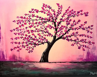 LARGE Abstract Tree Painting, Acrylic Landscape Original Painting, Textured Palette Knife, Pink, Purple, Cherry Blossoms, Flowers 40 x 30