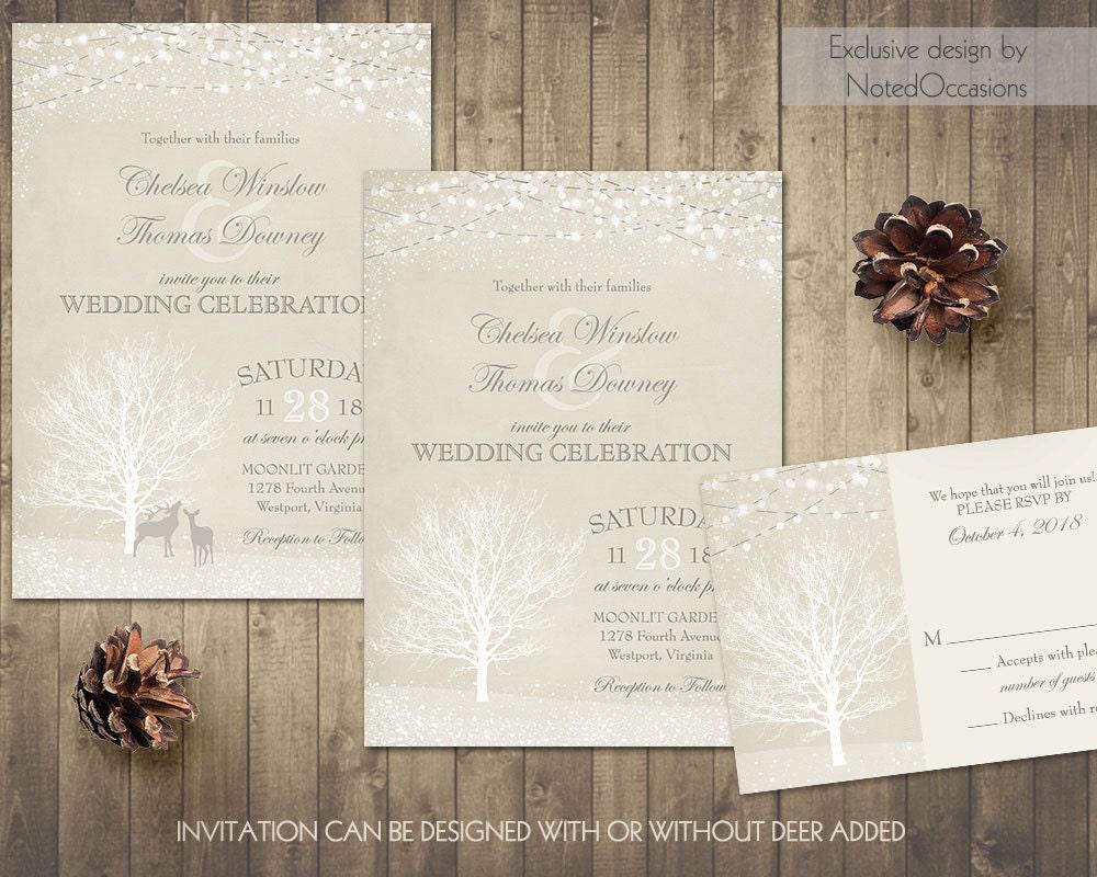 Deer Wedding Invitations: Winter Wedding Invitation Set Buck And Doe Deer Winter Wedding
