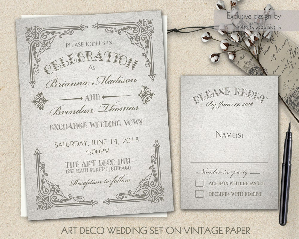 Wedding Invite Printing: Art Deco Wedding Invitation Printable Set Great By