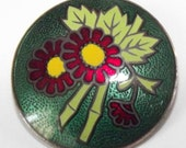 Vintage Button Cloisonne Made in Japan Bamboo & Flower