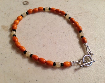 Orange and Black Bracelet - Silver Jewelry - Beaded Jewellery - Fashion - Wood - Cream Jade Gemstone