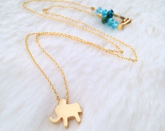 Gold Elephant Necklace with Blue-Green-Turquoise Glass Beads