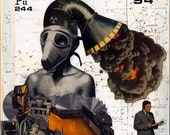 Large Giclee Print from my Original Collage, Plutonium - Science Chemistry Radioactive Nuclear Pop Surrealism Surreal Retro Men Bomb Atomic