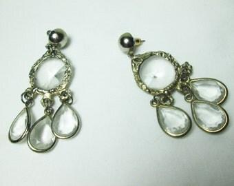 lovely RIVOLI lucite round tear drop RHINESTONES silvertone pierced dangling EARRINGS