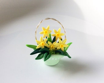 Spring daffodil basket handmade from polymer clay for twelfth scale dollhouse