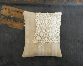 Sachet Pillow Organic Lavender Vintage Textiles French Ticking Lace Scented Home Decor French Chateau Cottage Chic Handmade Gift for Her
