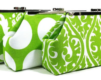 Green Wedding Clutch, Bridesmaid Clutches, Bridal Party Bags, Custom Personalized Gifts