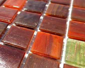 Chestnut Brown Glass Mosaic Tiles Squares - 3/4 inch - 25 Tiles for Craft Projects and Decorations - Reddish Browns and Green
