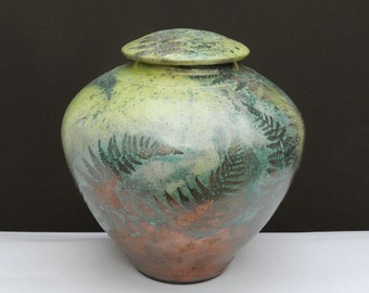 Wild Fern Urn,8in., Raku 8in. Jar,Handmade USA,Turquoise,Lemon&Copper decorative Jar