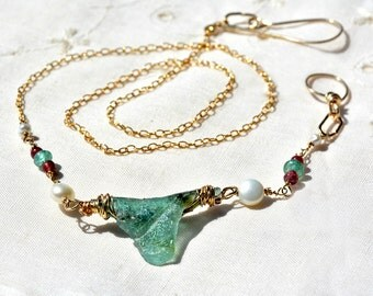Aquamarine Roman Glass Gold Filled Necklace+ Pearl& Pink Tourmaline Handmade Roman Glass Jewelry Chain Necklace Made in Israel Free Shipping