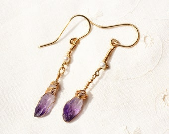Purple Stone Earrings. Uncut Amethyst Earrings with Pearls. Long Gold Filled Earrings. Crystal Quartz Earring. Stone Earring. Stone Jewelry