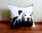 Black and White Bear  Pillow Case,  Shabby Chic with Envelope Back, Home Decor, Cushion Cover